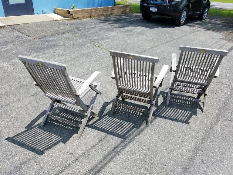 Mid-20th Century Set of Three Vintage Teak Folding Chairs by Andrew For Sale