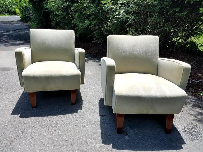 Chic pair of art deco club lounge chairs for sale at stdibs