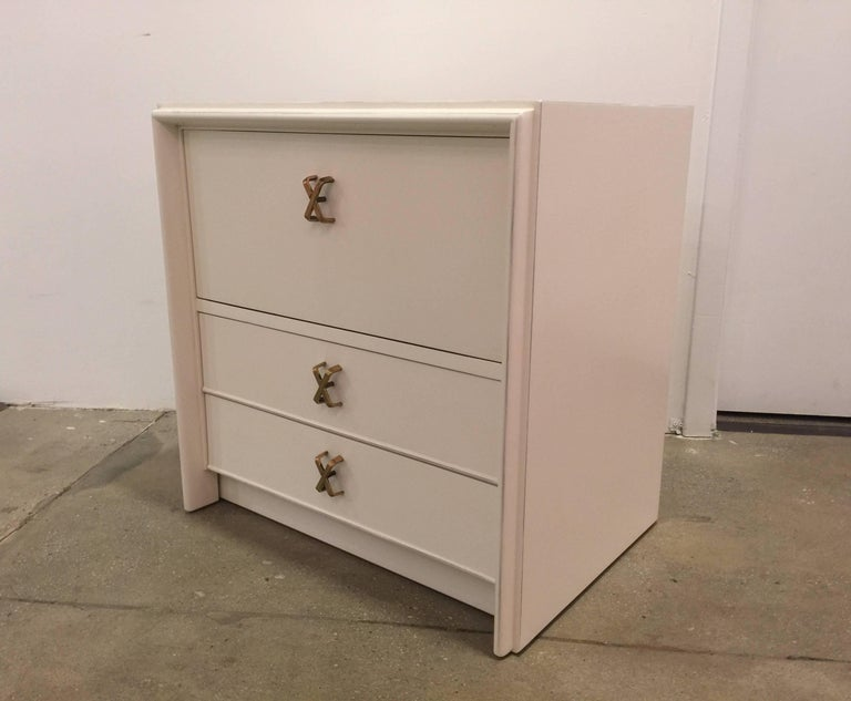 Pair Of White Lacquer Nightstands By Paul Frankl For Sale At 1stdibs