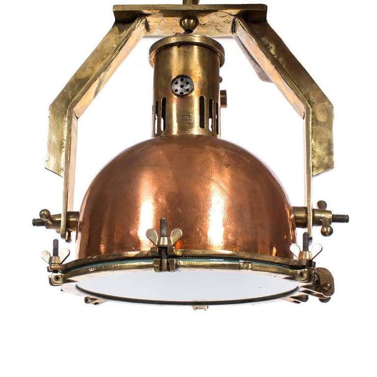 Vintage Industrial Copper Heat Pendant Light For Sale At