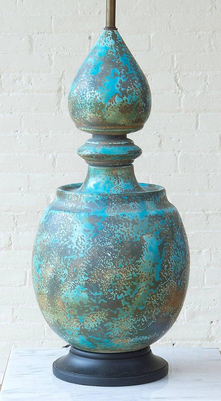 Monumental Italian Glazed Pottery Lamp 2