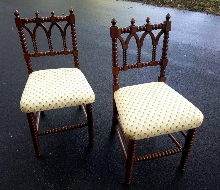 Handsome Pair of Gothic Revival Hall Chairs, circa 1840 2