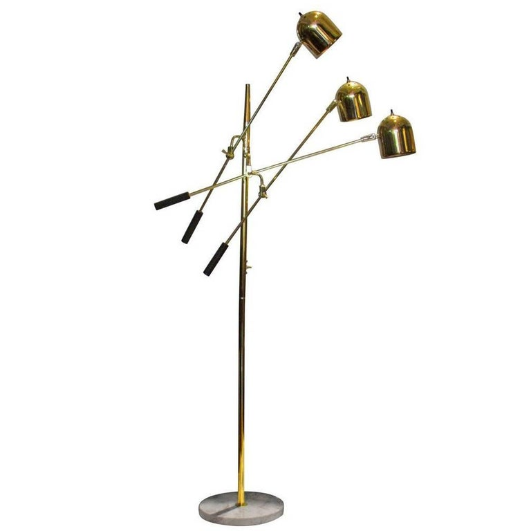 1960s Italian Three-Arm Brass Floor Lamp in Style of Tempestini For Sale