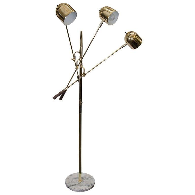 Mid-Century Modern 1960s Italian Three-Arm Brass Floor Lamp in Style of Tempestini For Sale