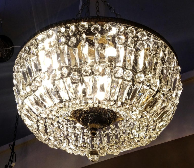 Spectacular Flush Mount Crystal and Bronze Basket Chandeliers In Excellent Condition For Sale In New York, NY
