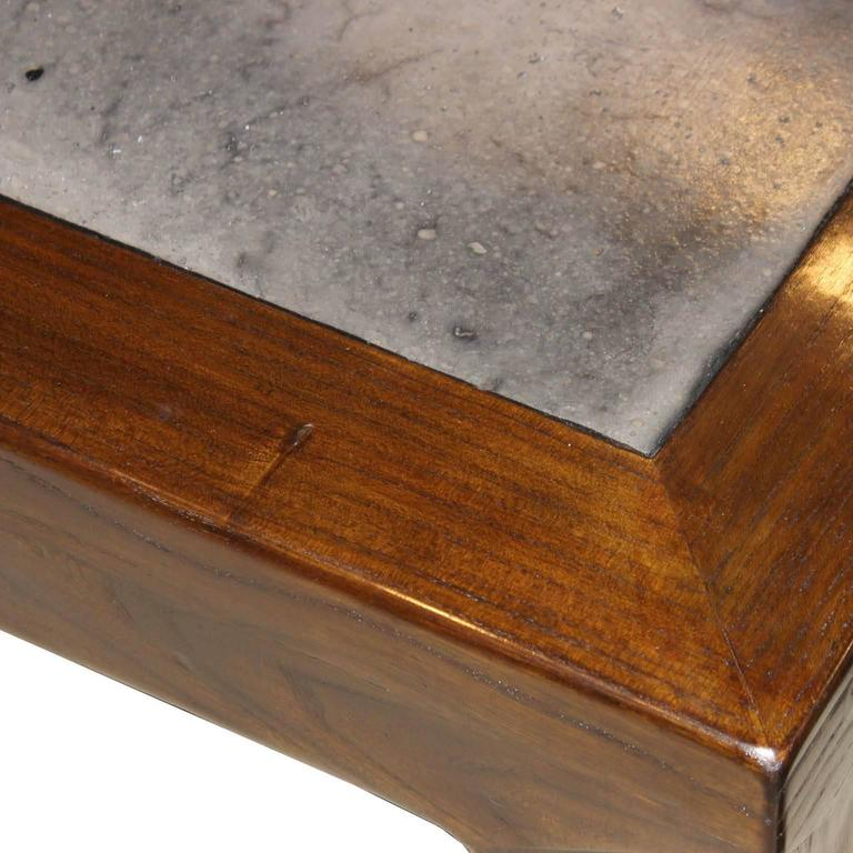 Contemporary Elm Stonetop Coffee Table For Sale