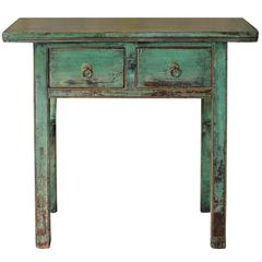 Two-Drawer Green Console Table