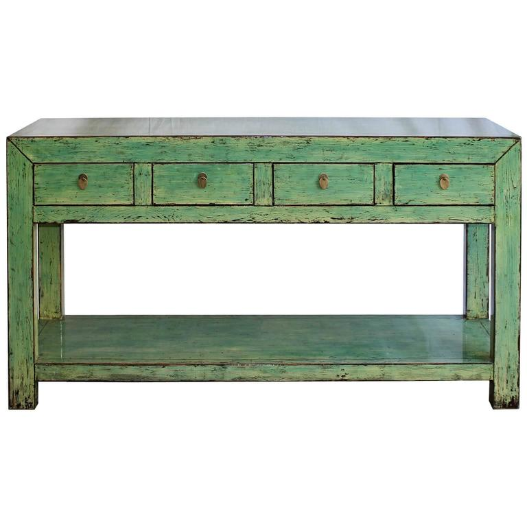 Charming Green Console Table For Sale