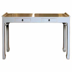Two-Drawer Gray Console Table