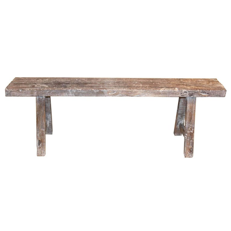 White Waxed Elm Bench
