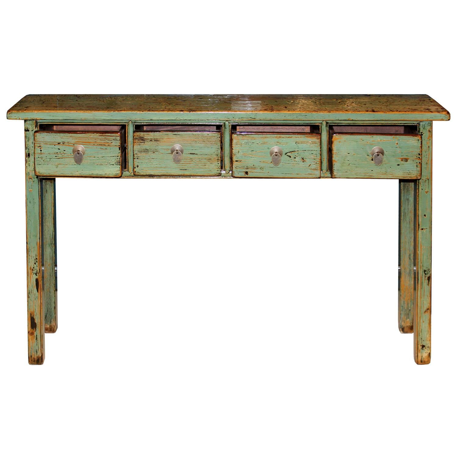 Chinese Green Console Table For Sale