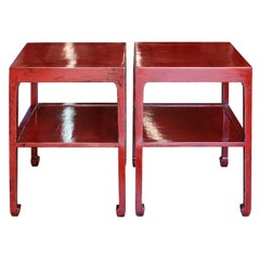 Red Two-Tier Side Table