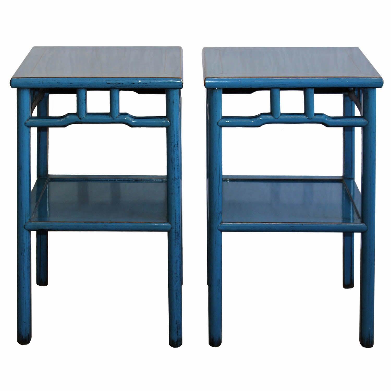 Superbe Blue Side Table At 1stdibs