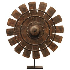 Indian Teak Weaving Wheel on Stand