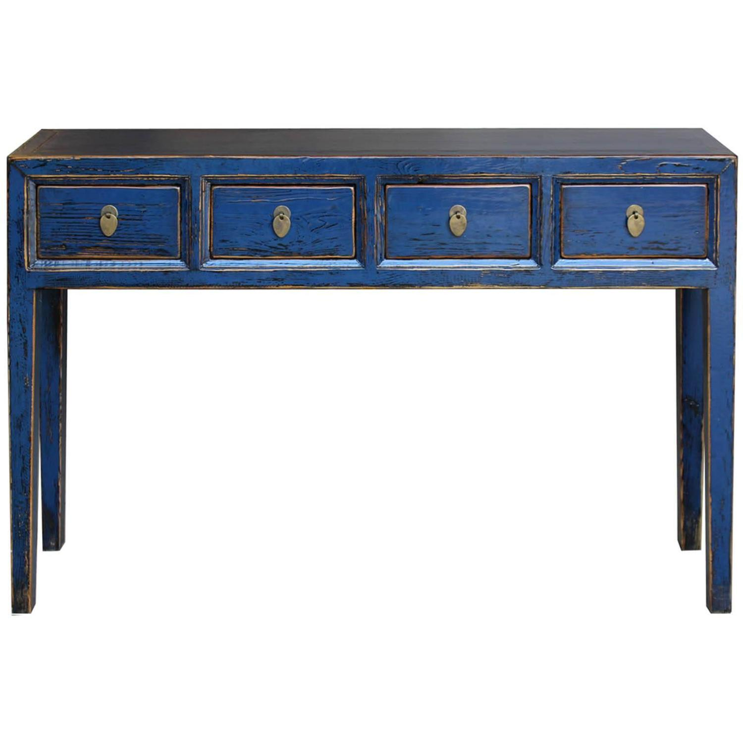 Blue 4 drawer console table at 1stdibs for What is console