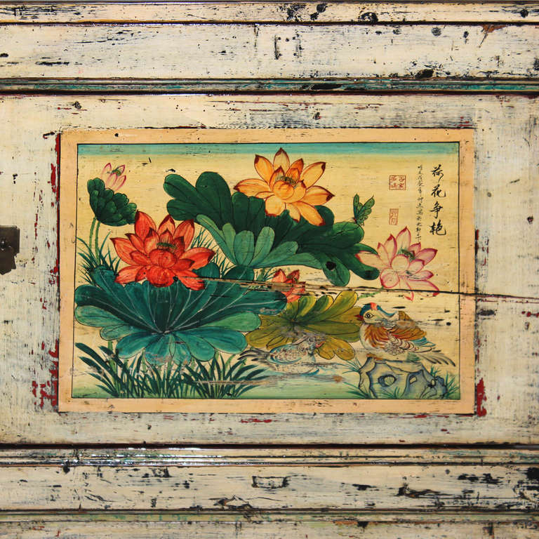 Wood Gansu Painted Buffet For Sale