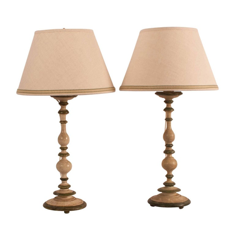 Pair of Painted Italian Baroque Candlestick Lamps with Custom Shades