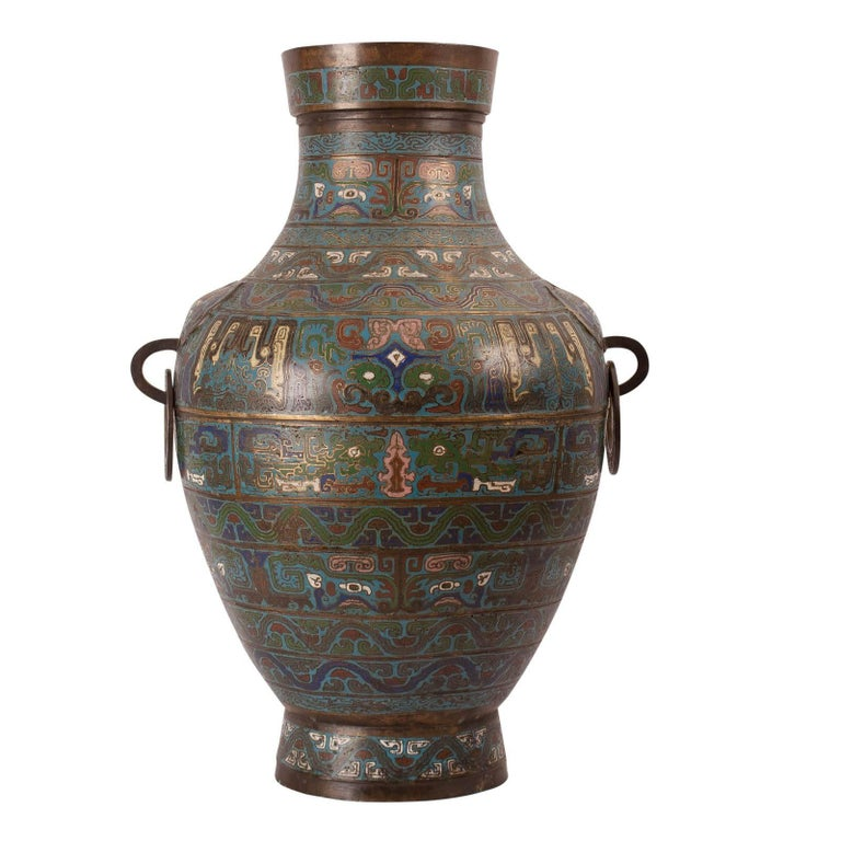 Large Gilt Bronze Champleve Vase Archaic Style Drilled Japan