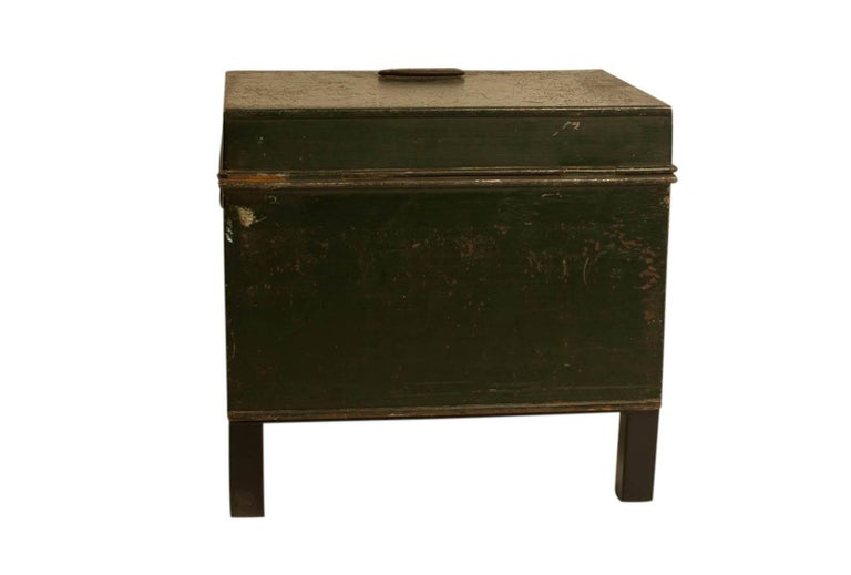 Brass English Victorian Metal Fire Safe in Bottle Green circa 1860 with Key For Sale