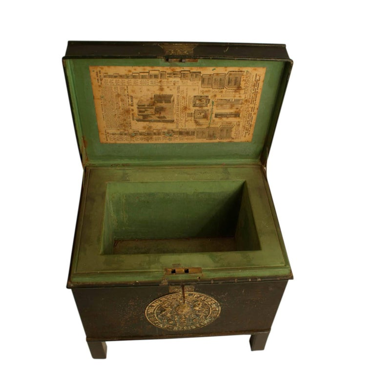 Mid-19th Century English Victorian Metal Fire Safe in Bottle Green circa 1860 with Key For Sale