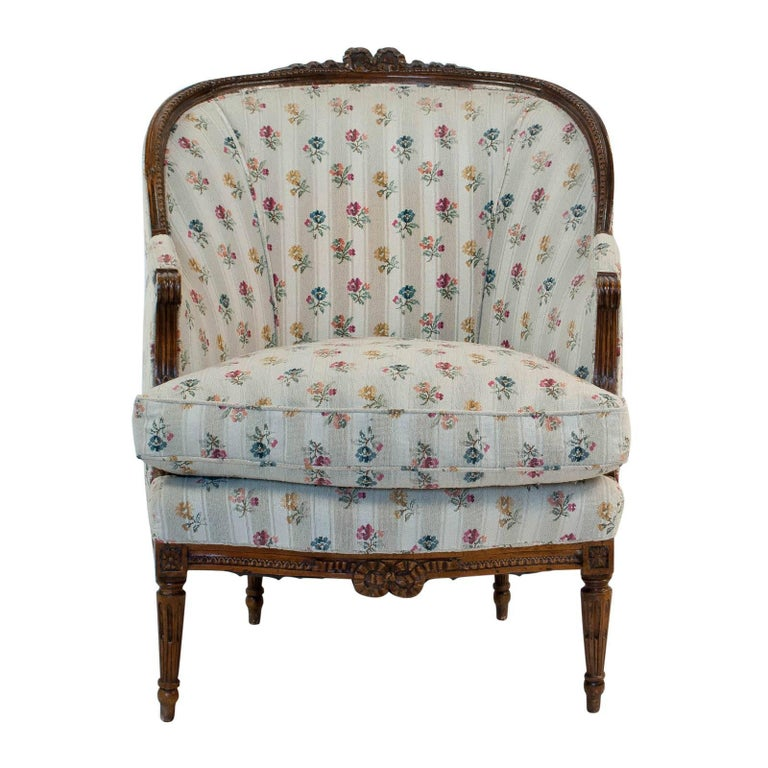 French Fruitwood Louis XVI Style Bergere, circa 1880 For Sale