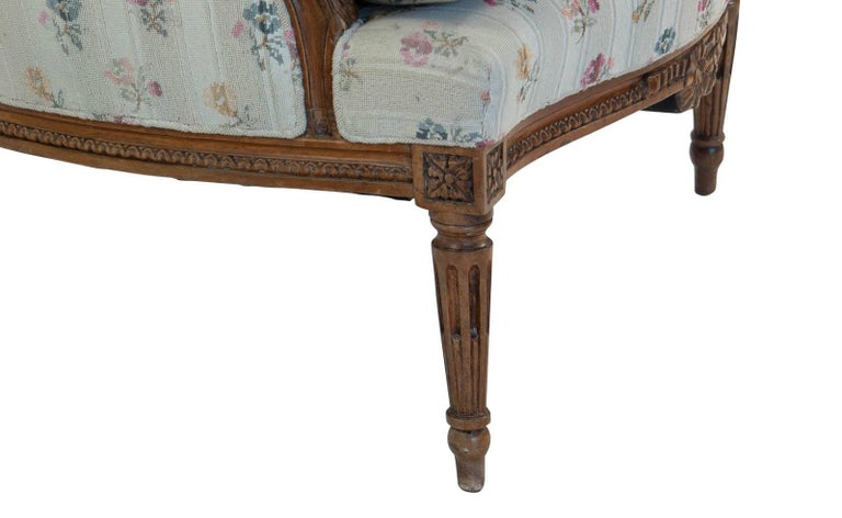 French Fruitwood Louis XVI Style Bergere, circa 1880 In Good Condition For Sale In San Francisco, CA