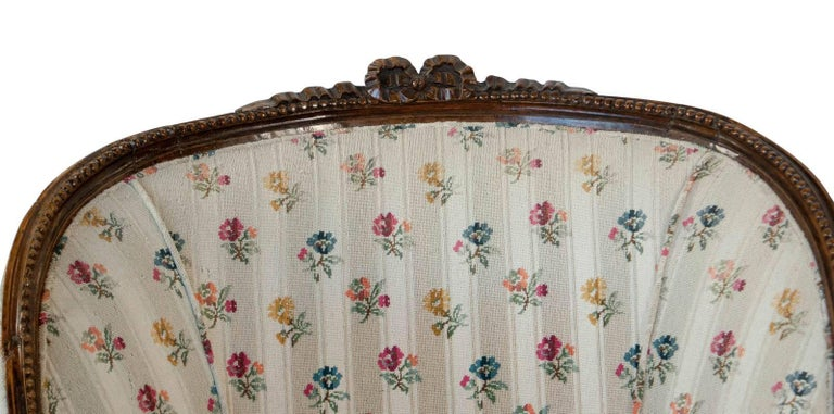 Upholstery French Fruitwood Louis XVI Style Bergere, circa 1880 For Sale