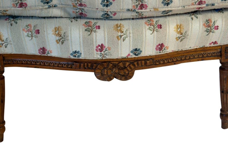 Late 19th Century French Fruitwood Louis XVI Style Bergere, circa 1880 For Sale