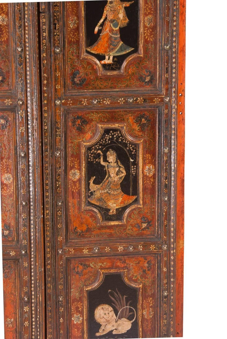 Pair of Painted Indian Palace Doors, circa 1830 In Good Condition For Sale In San Francisco, CA