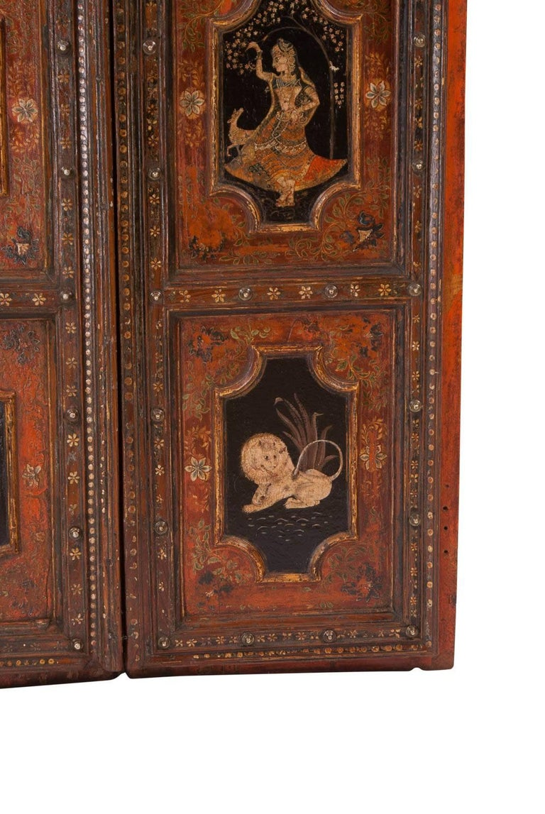 Pair of Painted Indian Palace Doors, circa 1830 For Sale 2