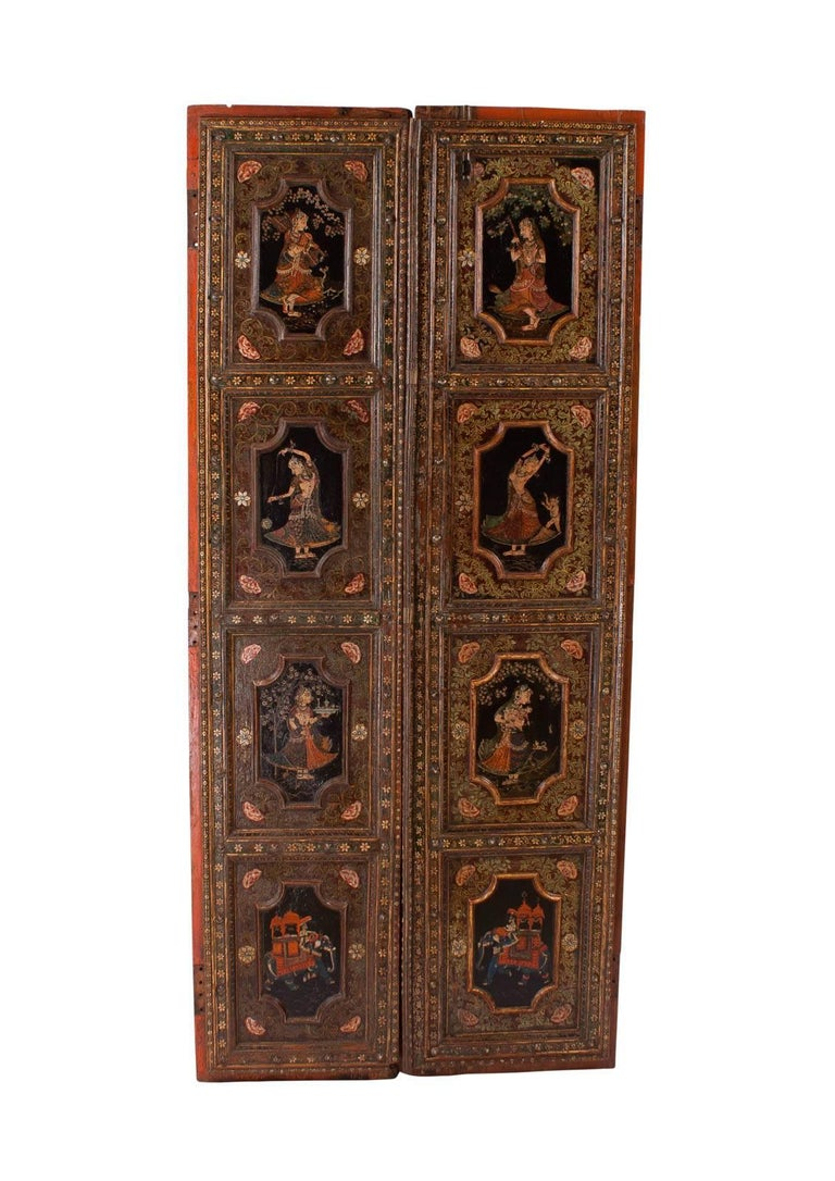 Pair of Painted Indian Palace Doors, circa 1830 For Sale 3