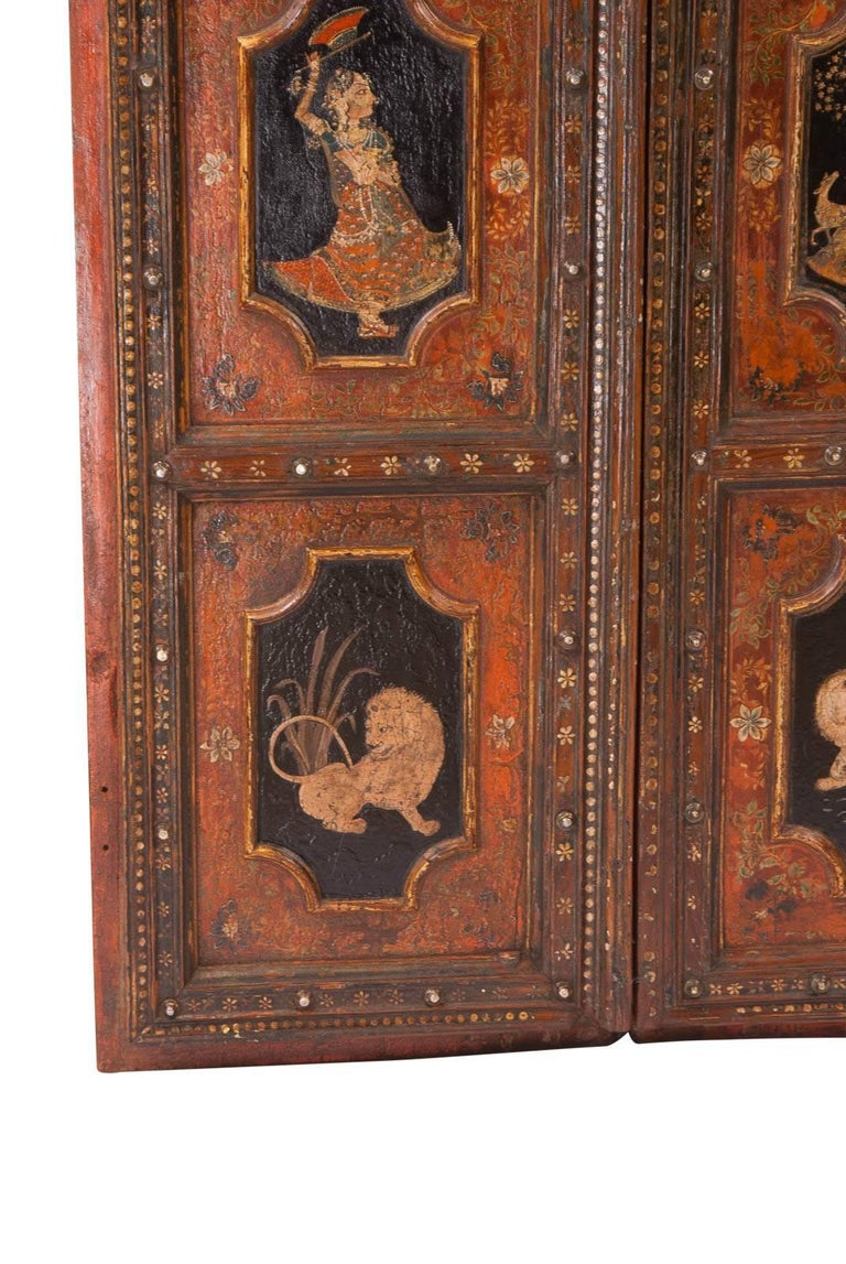 Mid-19th Century Pair of Painted Indian Palace Doors, circa 1830 For Sale
