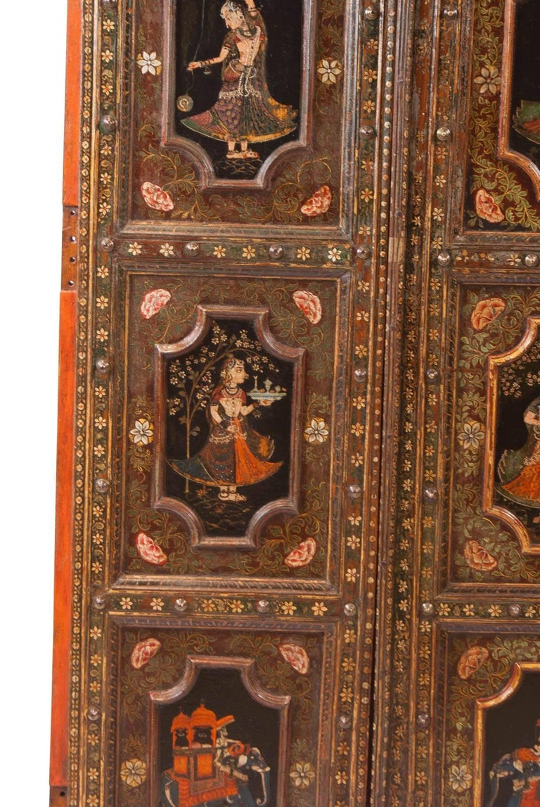 Metal Pair of Painted Indian Palace Doors, circa 1830 For Sale