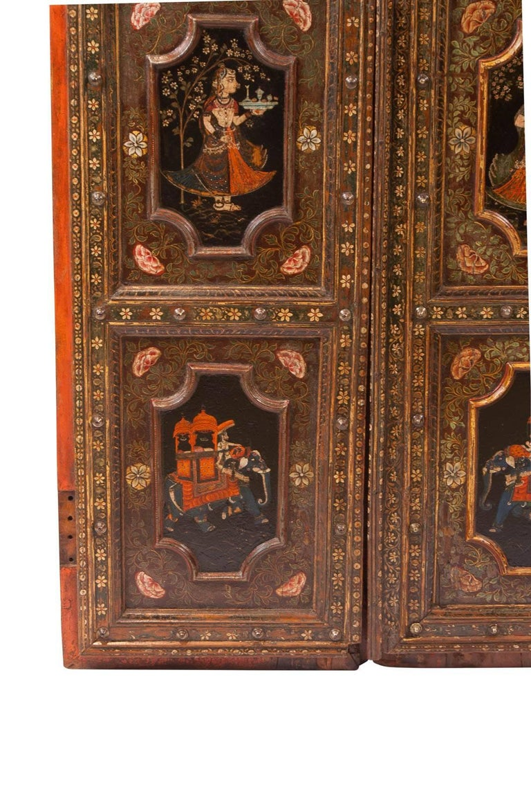 Anglo-Indian Pair of Painted Indian Palace Doors, circa 1830 For Sale