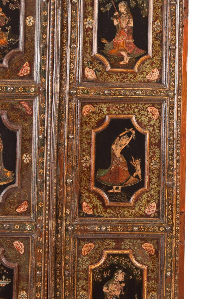 Pair of Painted Indian Palace Doors, circa 1830 For Sale 1