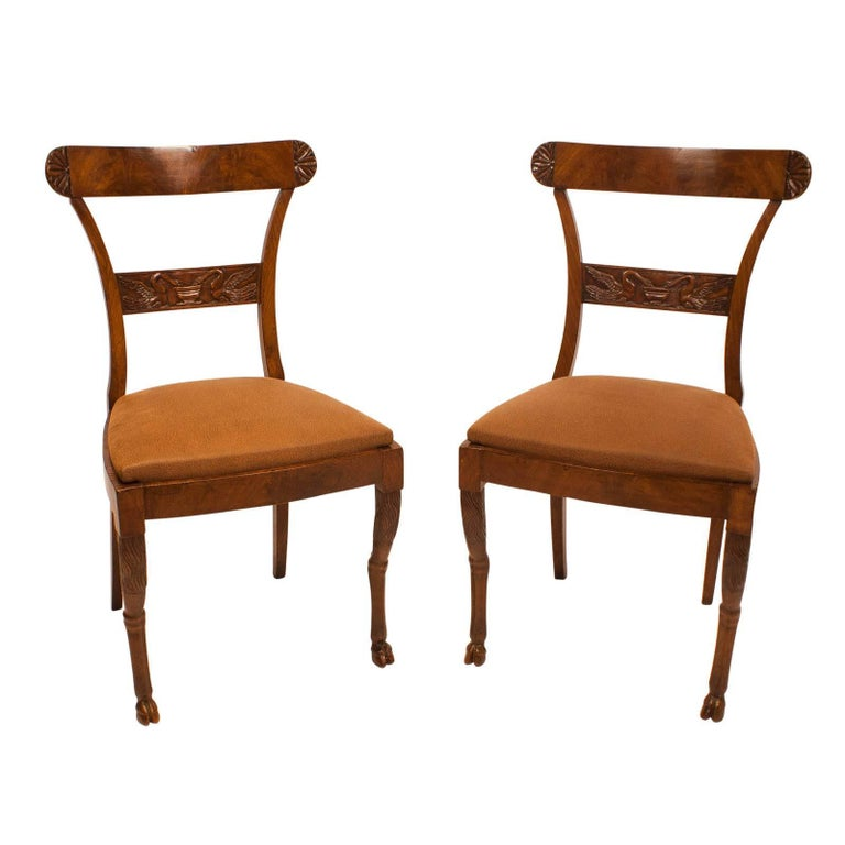 Pair of Walnut Neoclassical Side Chairs, Italy, circa 1820