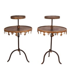 Pair of Vintage Tole Tables, USA, circa 1950