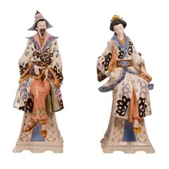 Pair of Italian Pottery Chinoiserie Figures, circa 1950