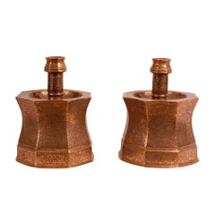 Large Pair of Ottoman Engraved Copper Candlesticks, circa 1830
