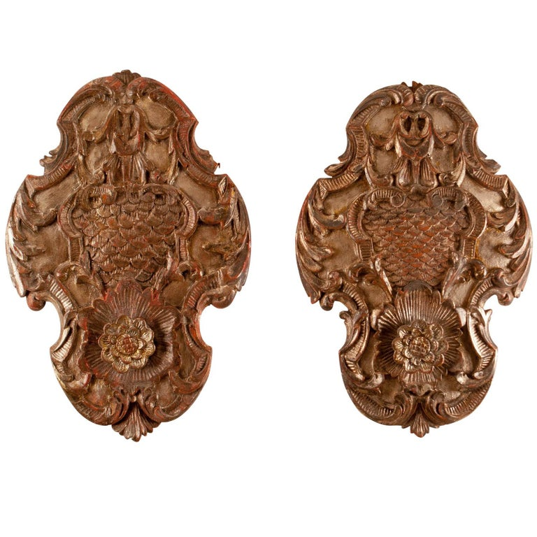 Pair of Silver Gilt Baroque Carved Wood Architectural Elements, Italy