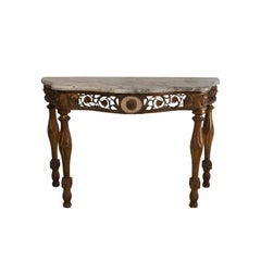 Italian Neoclassical Mecca Gilt Console with Later Marble Top, Italy, circa 1810