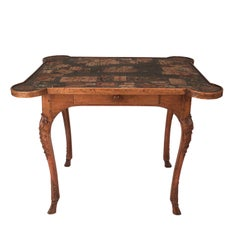 Exceptional Louis XV Carved Fruitwood Game Table, France, circa 1750
