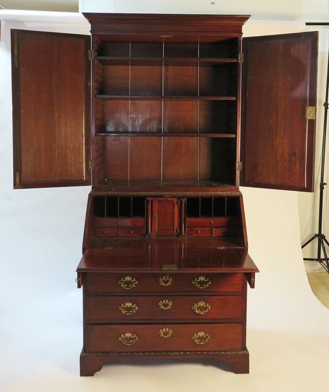 English George Iii Mirrored Mahogany Secretary Bookcase