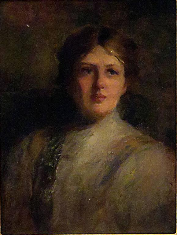 This painting is very good atmospheric impressionist portrait of a beautiful younger lady. Apparently unsigned we date this work, circa 1880. The giltwood frame is later. In very good condition.