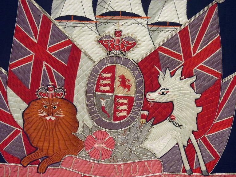Victorian Embroidered British Framed Nautical / Honor, circa 1880 For Sale