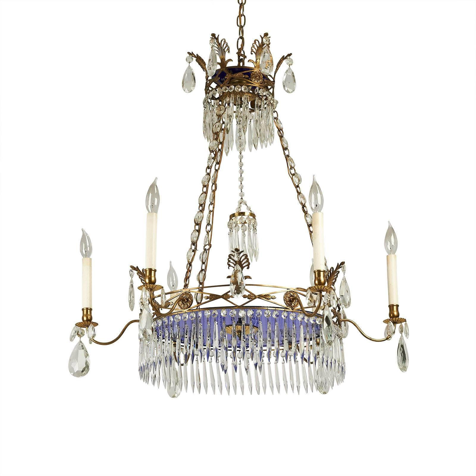 A beautiful larger crystal chandelier with gilt