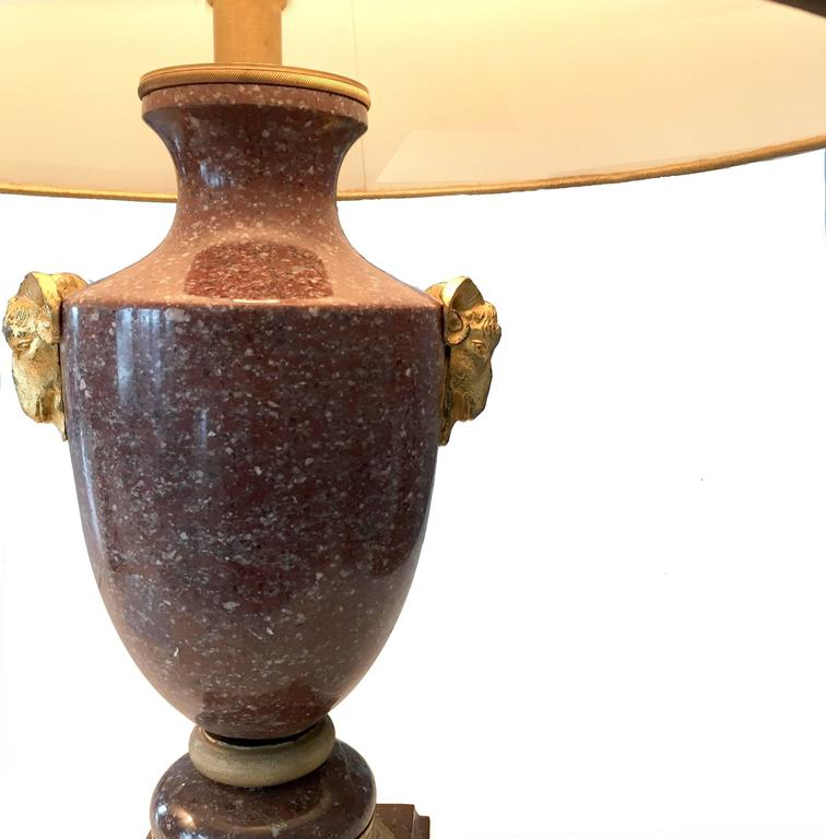 Pair of 19th Century French Empire Porphyry and Gilt Bronze Lamps 3