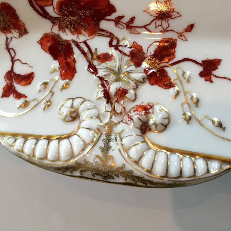 French Charles Field Haviland Limoges Hand-Painted Platter with 14-Karat Gold Accents For Sale