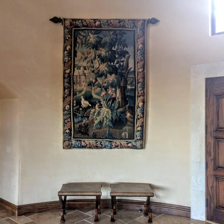 This colorful and bright handwoven tapestry was woven in Aubusson, France, circa 1780. The piece is in a good condition and has a new backing.