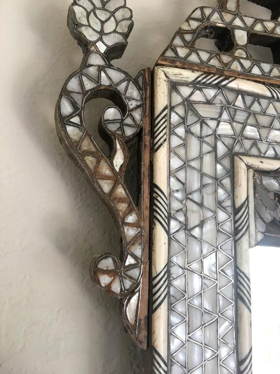 Late 19th Century Moroccan Bone Inlaid Mirror For Sale 4
